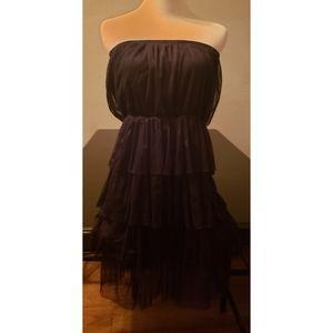 [J Gee] Black Strapless Tiered Mesh Ruffle Dress